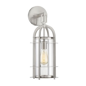 Finn Brushed Nickel Eight-Inch One-Light Outdoor Wall Sconce