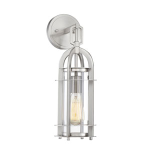 Finn Brushed Nickel Six-Inch One-Light Outdoor Wall Sconce