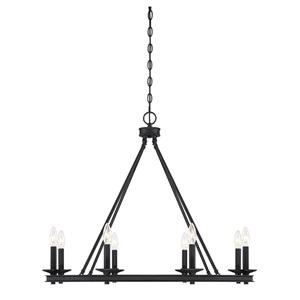 Elle Matte Black 33-Inch Eight-Light Chandelier