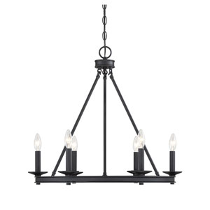 Elle Matte Black 25-Inch Six-Light Chandelier
