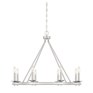 Elle Brushed Nickel 33-Inch Eight-Light Chandelier