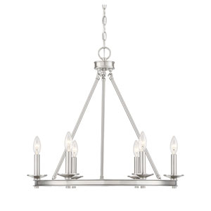 Elle Brushed Nickel 25-Inch Six-Light Chandelier