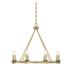Elle Polished Brass 33-Inch Eight-Light Chandelier
