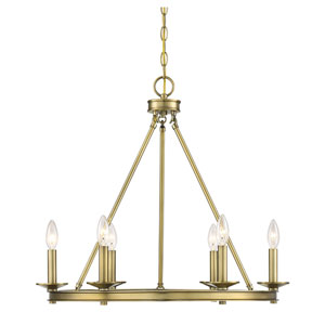 Elle Polished Brass 25-Inch Six-Light Chandelier