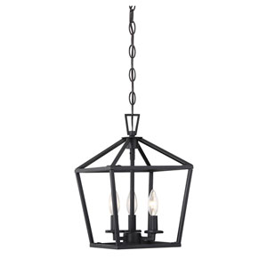 Anna Matte Black 10-Inch Three-Light Pendant