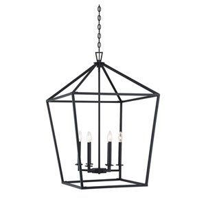 Anna Matte Black 24-Inch Six-Light Pendant