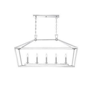 Anna Polished Nickel 16-Inch Five-Light Pendant