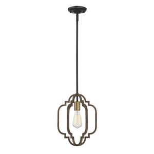 Lex Barrelwood with Brass Accents 10-Inch One-Light Pendant