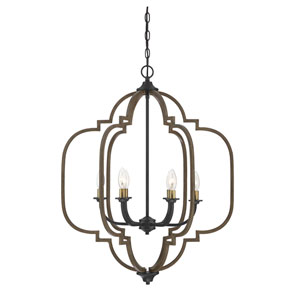 Lex Barrelwood with Brass Accents 25-Inch Six-Light Chandelier