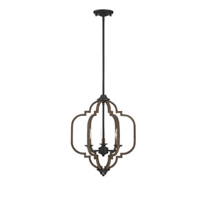 Lex Barrelwood with Brass Accents 16-Inch Three-Light Pendant