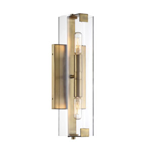 Cora Polished Brass Five-Inch Two-Light Wall Sconce