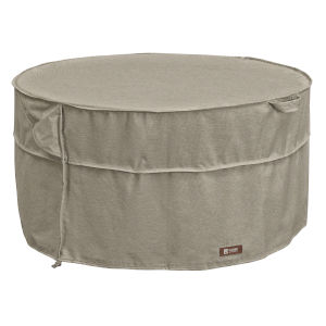 Maple Heather Gray Round Patio Fire Pit Table Cover with Water-Resistant Backing