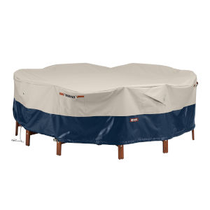 Aspen Fog and Navy Round Patio Table and Chair Set Cover