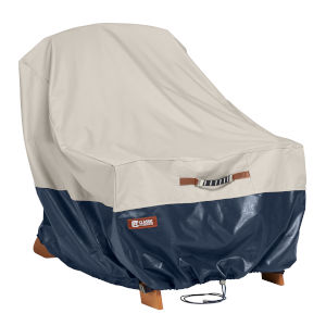 Aspen Fog and Navy Patio Adirondack Chair Cover