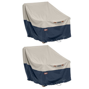 Aspen Fog and Navy Patio Lounge Chair Cover, Pack of 2