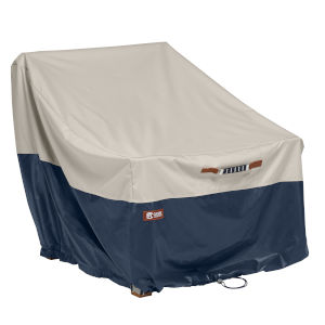 Aspen Fog and Navy Patio Lounge Chair Cover