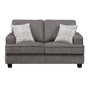 Linden Ink Loveseat with Loose Back Cushions, Self Welting and Wood Legs