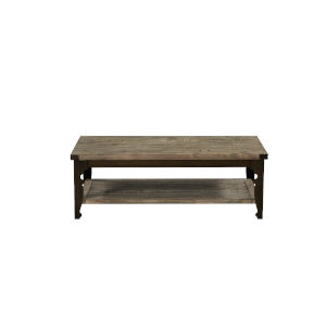River Station Reclaimed Pine and Antique Bronze 52-Inch Coffee Table with Plank-Style Top And Open Shelf