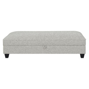 Linden Tweed Gray Ottoman with Pillows, Hidden Storage and Fixed Cushion