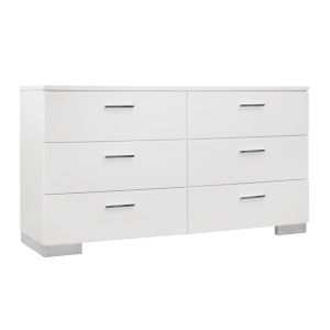 Uptown White and Chrome Six-Drawer Dresser