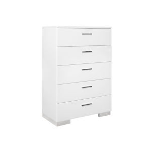 Uptown White and Chrome Five-Drawer Chest