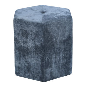 Vivian Geo Slate Hexagon Ottoman with Button Tufting