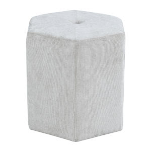 Vivian Geo Platinum Hexagon Ottoman with Button Tufting