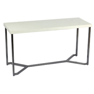 Whittier White and Black 52-Inch Sofa Table with Marble Top
