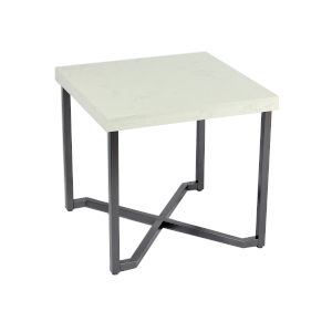 Whittier White and Black 22-Inch End Table with Marble Top