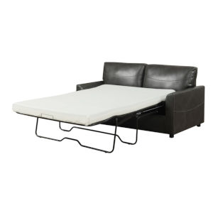 Selby Charcoal Gray 71-Inch Full Sleeper Sofa with Pillows, Faux Leather Upholstery And Gel Foam Mattress