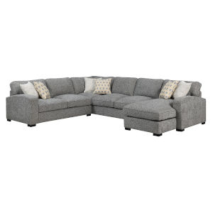 Linden Storm Gray Sectional Chaise with Pillow