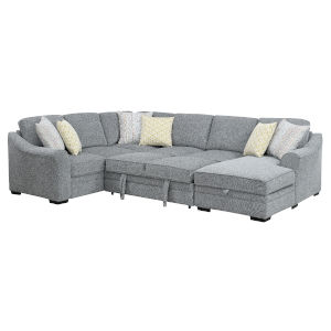 Linden Gray Fold Out Sleeper Sectional with Pillows, Fold-Out Sleeper And Pop-Up Storage