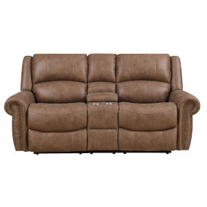 Selby Brown Reclining Loveseat with Cupholder
