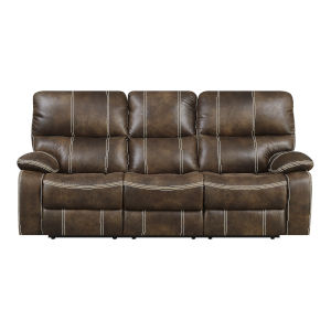 Selby Chocolate Brown 85-Inch Reclining Sofa with USB Charging Station