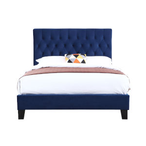 Whittier Navy King Upholstered Bed with Padded Headboard