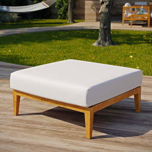Darren Natural and White Ottoman