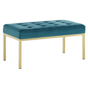 Monroe Gold and Teal Bench