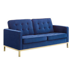 Cooper Gold and Navy Loveseat