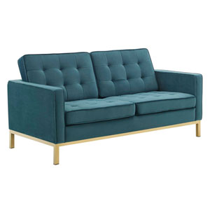 Cooper Gold and Teal Loveseat