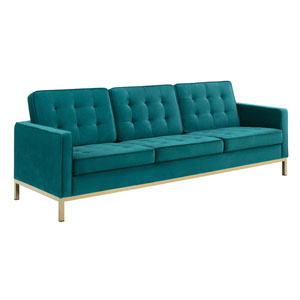 Cooper Gold and Teal Sofa