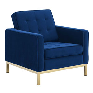 Cooper Gold and Navy Armchair