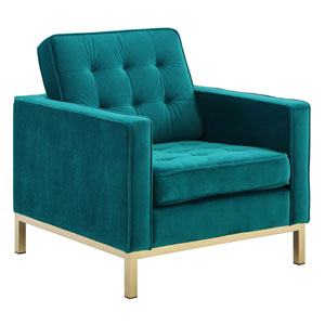 Cooper Gold and Teal Armchair