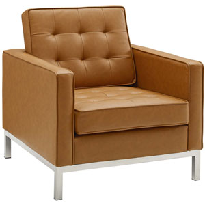 Uptown Silver and Tan Armchair