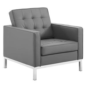 Uptown Silver and Gray Armchair