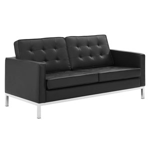 Uptown Silver and Black Loveseat