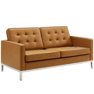 Uptown Silver and Tan Loveseat