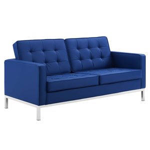 Uptown Silver and Navy Loveseat