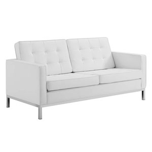 Uptown Silver and White Loveseat
