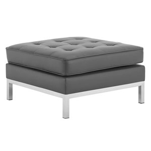 Uptown Silver and Gray Ottoman