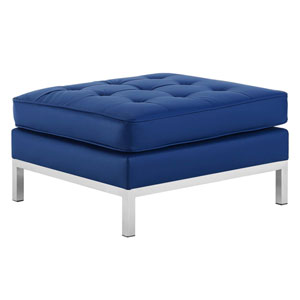 Uptown Silver and Navy Ottoman